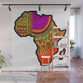 Orange Dashiki Africa Map Wall Mural