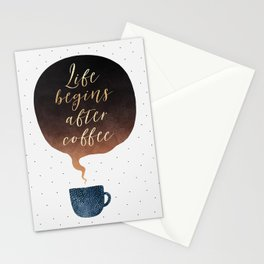 Life Begins After Coffee 1 Stationery Cards