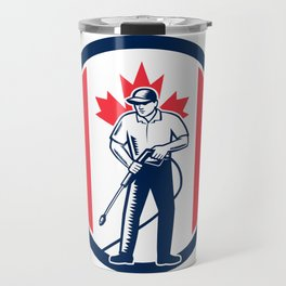 Canada Pressure Washing Flag Circle Retro Travel Mug
