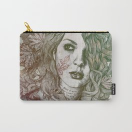 Wake: Autumn (street art woman with maple leaves tattoo) Carry-All Pouch