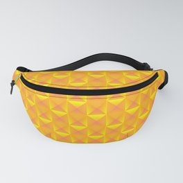 Tiled pattern of orange squares and striped yellow triangles. Volumetric geometry for the background Fanny Pack