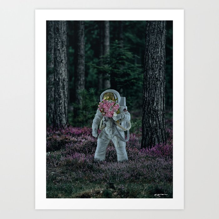 picking up flowers. Art Print