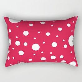 Mixed Polka Dots - White on Crimson Red Rectangular Pillow