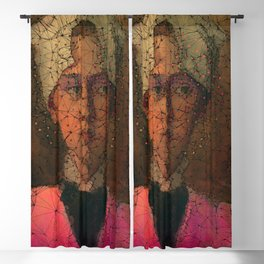 Portrait of woman with a headscarf Blackout Curtain