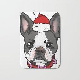 Boston Terrier Dog Christmas Hat Present Bath Mat