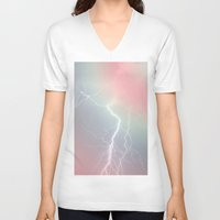 lightning V-neck T-shirts featuring Lightning  by littlehomesteadco