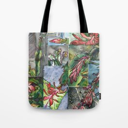Christmas Cactus - Watecolor Painting Collage / Botanical Art / Floral Illustratin Tote Bag