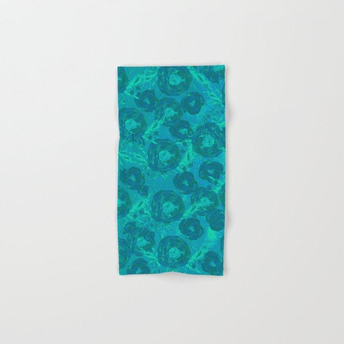 Abstract Poppy Pattern Blue Hand & Bath Towel