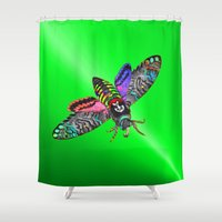 pastel goth Shower Curtains featuring Goth Moth by Jan4insight