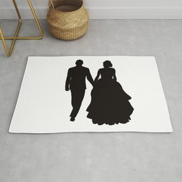 Wedding Couple Silhouette Design For Weddings Rug
