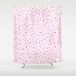 Leaves in Flamingo Shower Curtain