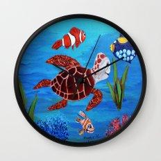 Swimming in the sea  Wall Clock