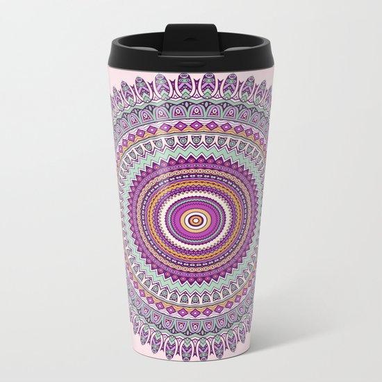Pastel Mandala in shades on pink and purple Metal Travel Mug
