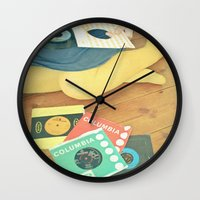 vinyl Wall Clocks featuring Vinyl by Cassia Beck