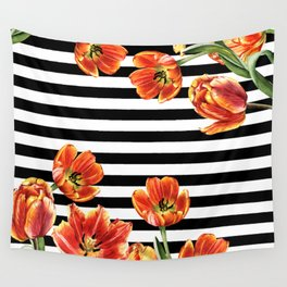 Red Orange Tulips Black Stripes Chic Wall Tapestry