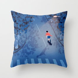 Longboarding alone on the street at night Throw Pillow
