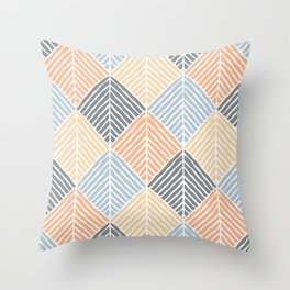 Boho Pattern (Sand and Blue) Throw Pillow