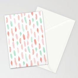 Feather mint pink and white minimal feathers pattern nursery gender neutral boho decor Stationery Cards
