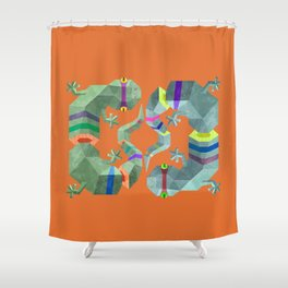 Polygonal gecko Shower Curtain