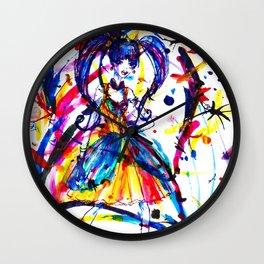 Rainbow Paint Storm Wall Clock