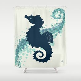 """""""Seahorse Silhouette"""" ` digital illustration by Amber Marine, (Copyright 2015) Shower Curtain"""