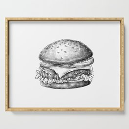 Hand Drawn Cheese Burger Serving Tray