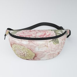 Vintage & Shabby Chic - Antique Pink Peony Flowers Garden Fanny Pack
