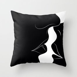 Just a Little Kiss - Black Throw Pillow