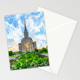 Oquirrh Mountain LDS Temple Watercolor - Summer Stationery Cards