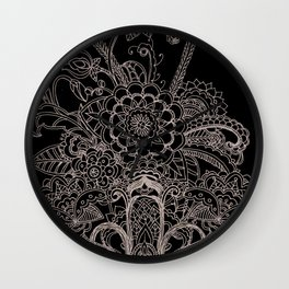 Paisley Drawing in Black and White Wall Clock