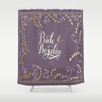 pride and prejudice Shower Curtains featuring Prideand Prejudice by Abbie Imagine