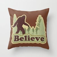 bigfoot Throw Pillows featuring Bigfoot Believe by Heather Green