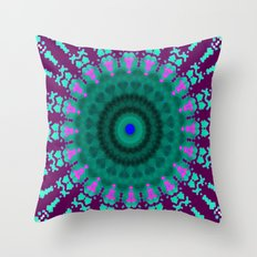 Lovely Healing Mandala  in Brilliant Colors: purple, pink, teal, and green. Throw Pillow