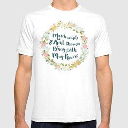 May Flowers brush script T-shirt