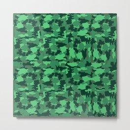 Green Army Camo Pattern Background Metal Print