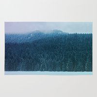 oregon Area & Throw Rugs featuring Oregon Winter by Leah Flores
