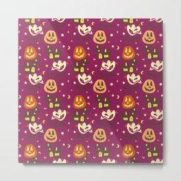Cute Spooky Halloween Pattern Metal Print