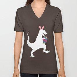 Easter Bunny T-Rex Holding Easter Egg Pascha Holiday Unisex V-Neck