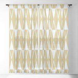Mid Century Modern Diamond Pattern Gold 234 Sheer Curtain