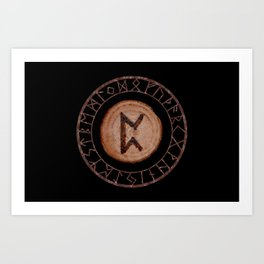 Perthro Elder Futhark Rune of fate and the unmanifest, probability, luck, nothingness, the unborn Art Print