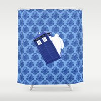 baymax Shower Curtains featuring Tardis - BAYMAX by Raisya