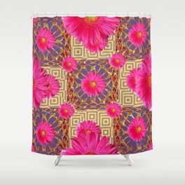 Fuchsia Gerbera Flowers & Grey Patterns Shower Curtain