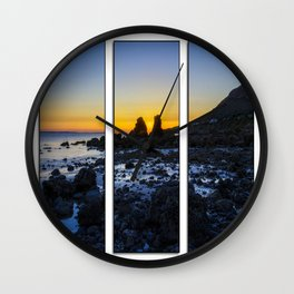 Sunset Through The Rocks Tryptych Wall Clock