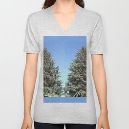 Colorado Blue Spruce, front yard, doubled Unisex V-Neck