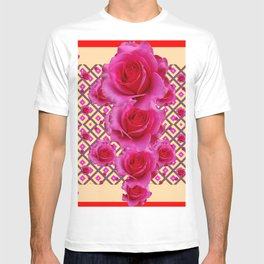 Red & Cream Fuchsia Roses Pattern T-shirt