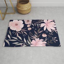 Modern Print Floral, Pink and Navy Blue Rug