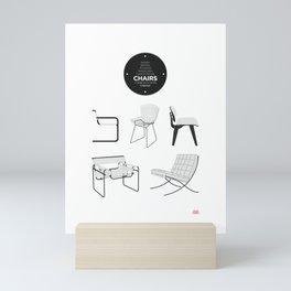 CHAIRS - A tribute to seats (minimalistic version) Mini Art Print