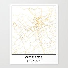 OTTAWA CANADA CITY STREET MAP ART Canvas Print