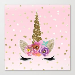Floral Trendy Modern Unicorn Horn Gold Confetti Canvas Print