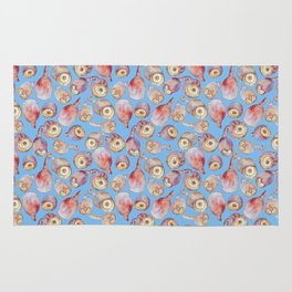 Gumnuts watercolour (blue background) Rug